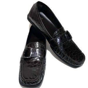 Stuart Weitzman Driving Loafers Patent Mock Croc